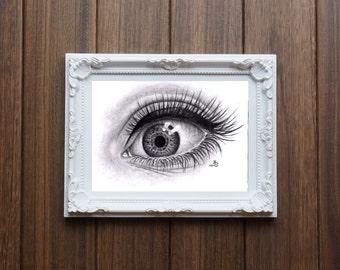 Hyperrealism eye drawing