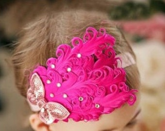 Baby Girl Hot Pink Feather Headband Baby Headband, Newborn Headbands, Baby Girl Headbands, Baby Flower Headbands
