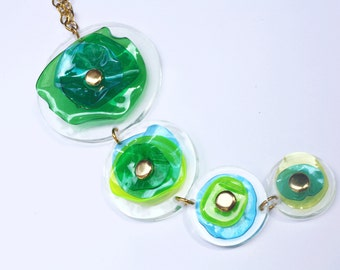 SALE Acrylic Pendant Necklace, Green Up-cycled Necklace, Contemporary Design