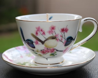 Cherry Blossom & Wren Teacup Candle