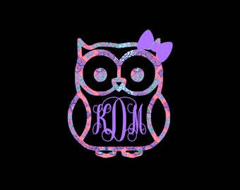 Owl with Bow Monogram Decal! Matching Monogram or Solid Color, Car Decal, Nursery Decor, Home Decor, iPad, iPhone
