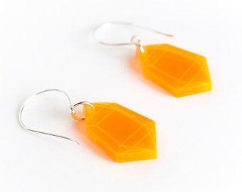 Laser Cut Neon Orange Acrylic Crystal Earrings / Modern & Minimalist Jewelry / Cyberpunk Jewelry / Futuristic / Low Poly