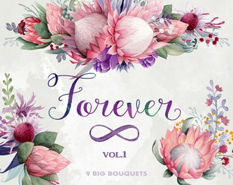 Flower bouquets clipart, Forever, King Protea, Gumtree blossoms, watercolor flower clipart, floral clipart, Wedding flowers, boho flowers