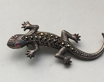 "Vintage Sterling Silver Lizard Pin, 925 Brooch, Sterling, Marcasite Brooch, Gecko Pin, Salamander, Oxidized Silver, Ruby Glass Eyes, 2"" Long"