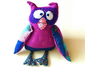 Owl Handmade  Fabric Doll, Whimsical Animal Plush Doll, Children Rag Doll, Kids  Stuffed Toy, Nursery Decor, Art Doll Collectible