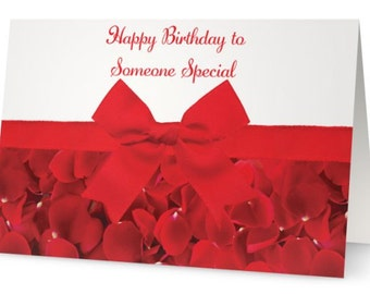 red ribbon - red and white - birthday - birthday card - rose petals - red rose petals
