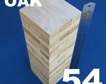 Lot 54 wooden stacking tumbling tower like JENGA blocks OAK wood family board game