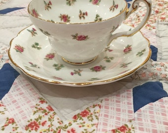 Pretty pink roses foley cup & saucer