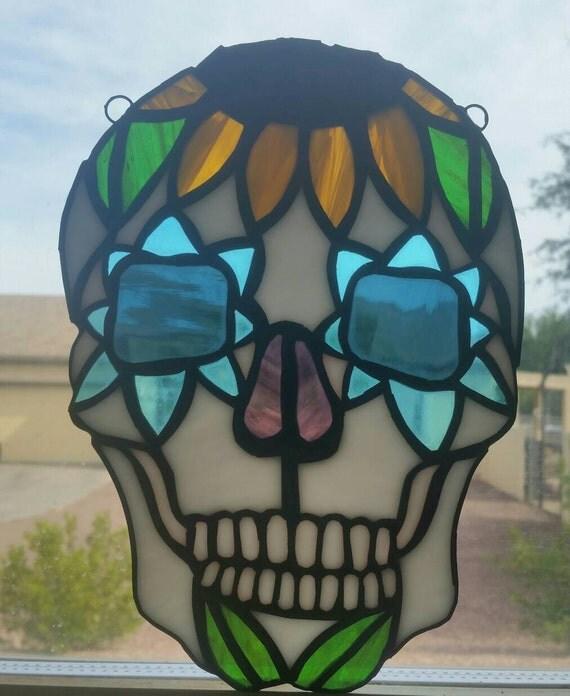 Sunflower Calavera Sugar Skull Stained Glass Suncatcher ...