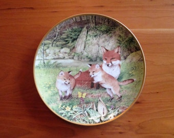Peter Barret, The Woodland Year, The Butterfly Chase in May,  Calendar Plate  Franklin Porcelain