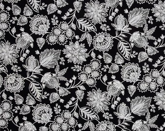 8.99 Yard Fabric Sale - Timeless Treasures Jacobean Floral - Calais - Black and White Fabric FBTY