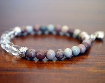 Ocean jasper and clear quartz crystal bracelet and silver heart charm
