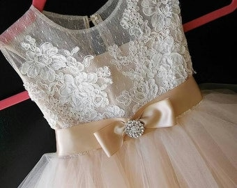 """flower girl dress """"Rosse""""with rhinestone and bow"""