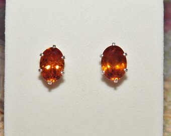 Sri Lankan Hessonite Garnet 1.90 TCW 7 x 5 MM Oval Stud Earrings