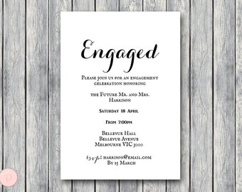 Printable Engagement Party Invitation, Personalized Invitation, Printable Wedding Invitation, Shower Invite TG00 sign TH00