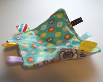 Bird Flower and Leaf Sensory Square Baby Crinkle Paper with Ribbons