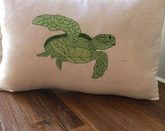 Embroidered Sea Turtle Pillow on Canvas