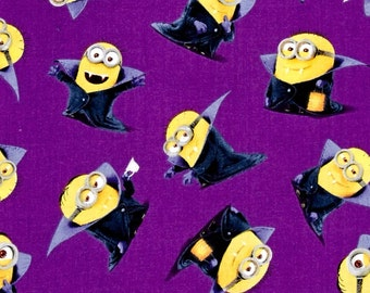 New!  One Yard of Purple Minion Vampire 100% Cotton Quilt Fabric by Quilting Treasures