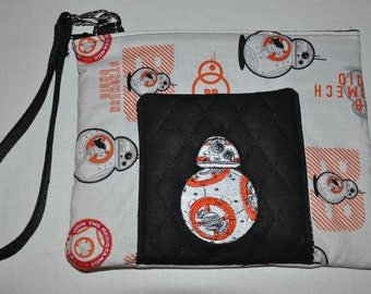 New!  Star Wars Fabric - BB8 Embroidered Quilted Wristlet - Cell Phone Purse - Coin Purse