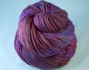 Hand Dyed Sock Yarn, hand dyed wool, variegated sock yarn, pink, purple