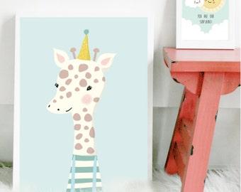 Giraffe poster | art print | nursery art | kids poster | home decor