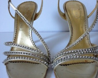 Gold High Heels, Gold Sandals, Gold Shoes, Vintage Shoes, Stiletto Heels, High Heels, Evening Shoes, Leather Shoes; UK Size 6/US 8/Eu 38-39