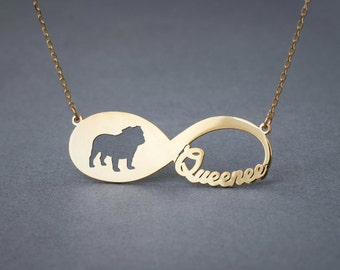 14k Solid Gold Personalised INFINITY ENGLISH BULLDOG Necklace - 14k Gold English Bulldog Necklace - Name Necklace