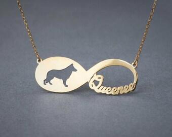 14k Solid Gold INFINITY GERMAN SHEPHERD Necklace • German Shepherd • Name Necklace • Custom Necklace • Shepherd necklace • Dog Necklace