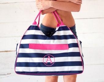 Personalized Navy Stripe Beach Bag