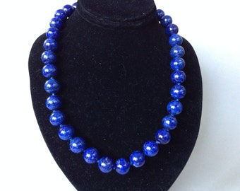 Luscious Lapis and Sterling Silver Ball Bead Necklace