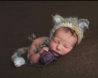 Newborn kitten bonnet, cat hat, newborn cat bonnet, kitty hat, kitten costume, Newborn kitten prop