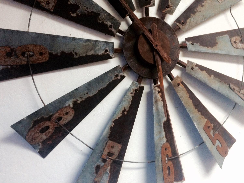 38 inch metal windmill clock farmhouse clock wall clock