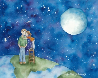 I Love You To The Moon And Back Watercolor Print; 5x7, 8x10, 16x20 (All Landscape View) Watercolor Painting, Daddy-Daughter Painting