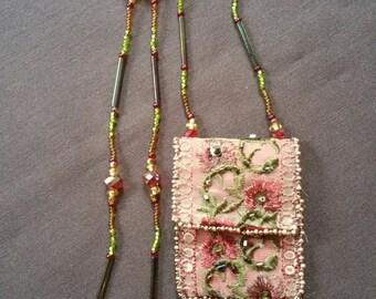 Beaded Amulet Bag Rose Motif