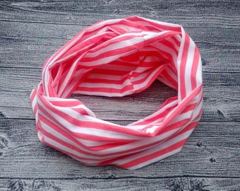 Infinity scarf - striped coral and white