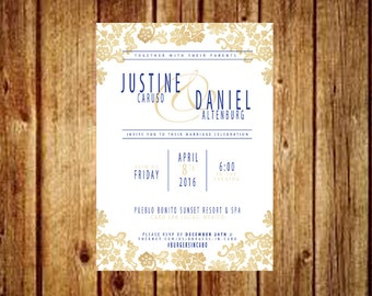 Classic Gold & Navy Wedding Invite