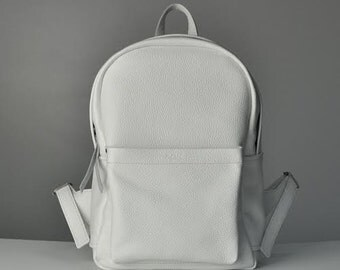 White leather backpack - Carbon