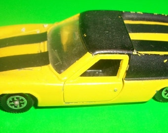 Dinky Toys  Lotus Europa Yellow Repainted Meccano Ltd Made in England, Doors Hood Open Diecast Sportscar Patent No. 46371/68 Restore Job -