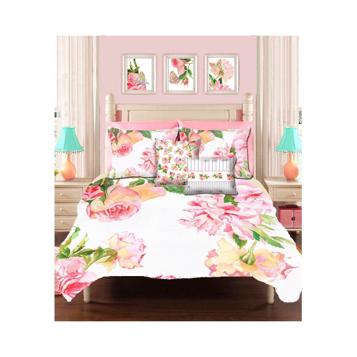Bed sheets for teenagers - Shabby Chic Bedding Teen Bedding Shabby Chic Duvet Girls Duvet Cover Little Girl Bedding Rose Duvet Cover Queen Duvet Kids Bedding Bedroom