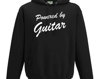 Powered by Guitar Hooded Sweatshirt. Unisex Long Sleeved Quality Hooded Sweater. Cool Guitarist inspired design