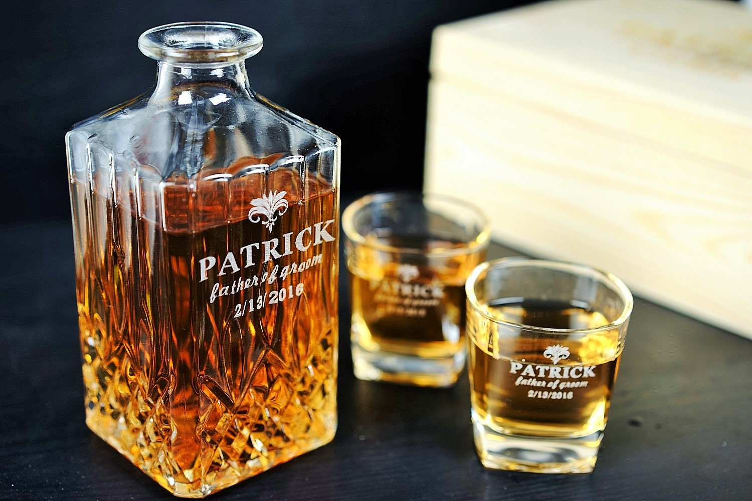 personalized glass scotch whiskey decanter set by. Black Bedroom Furniture Sets. Home Design Ideas