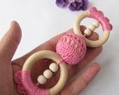 gift girl baby teething baby teether child teething girl baby gift wooden teething ring pink baby girl teething toy girl baby princess gift