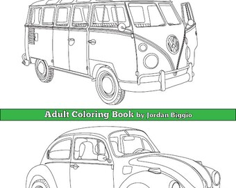 Classic VW'S: Adult Coloring Book Digital Download