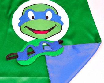 Ninja turtle cape and Mask, Cape and Mask, ninja turtle mask, Teenage Mutant Ninja Turtle Costume, Super hero cape and matching ma