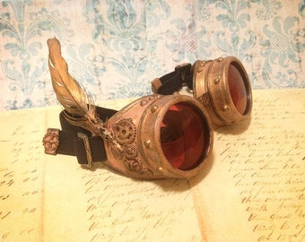Burning Man Goggles, Steampunk Goggles, Harry Potter FAWKES Phoenix, burner goggles, ROSE GOLD Goggles, Playa Goggles, Dust Goggles