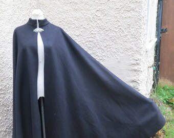 20% OFF IN JULY Black 100 Percent wool cloak for Larp, reenactment, costume