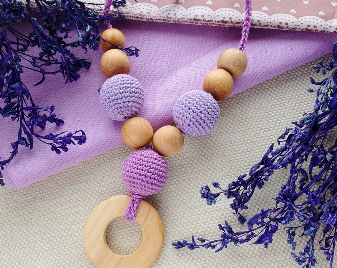 Nursing necklace / Teething necklace / Breastfeeding necklace / Crochet necklace - Purple ring