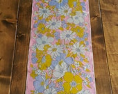 Burmel Original Vintage Pink Floral Daisies Delicate Chiffon Scarf Made in Japan Hand Rolled Purple Yellow White Daisy Pattern