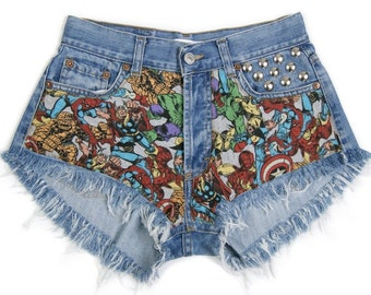 Marvel shorts Superheroes denim shorts High waist waisted patched patches jeans with avengers cut off theme patched XS size 26 waist