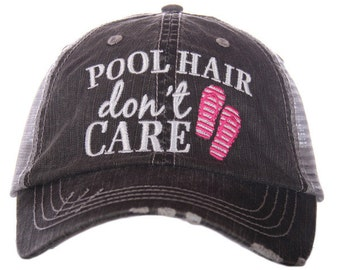 Pool Hair Don't Care Trucker Hat - Distressed Hat
